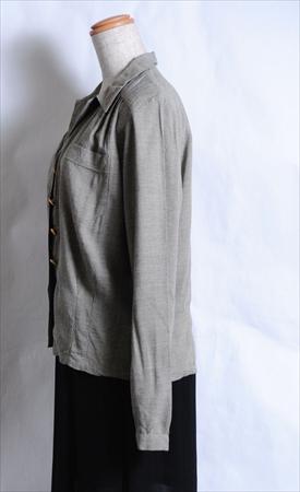 スウェーデン軍 レディース長袖ミリタリーシャツ アーミーシャツ ホスピタルシャツ 北欧 ビンテージ