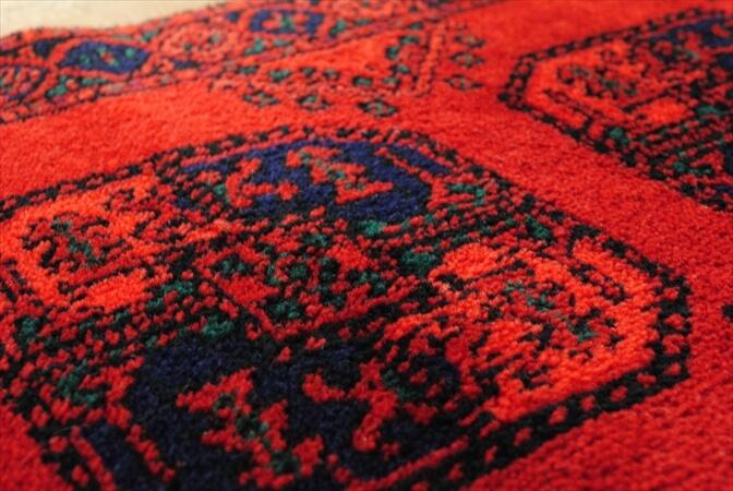 アフガニスタン トルクメン 手織りラグ 90x50cm 絨毯 カーペット ウール