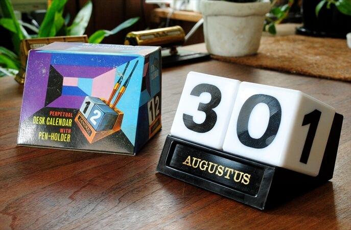 ベルギー買い付け 1960-70年代 デッドストック デスクカレンダー 万年カレンダー 171024